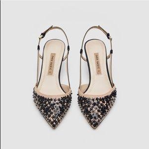 Zara Sequin Kitten Heels